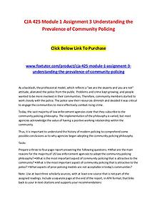 CJA 425 Module 1 Assignment 3 Understanding the Prevalence of Communi