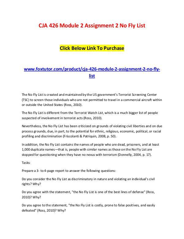 CJA 426 Module 2 Assignment 2 No Fly List CJA 426 Module 2 Assignment 2 No Fly List