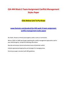 CJA 444 Week 3 Team Assignment Conflict Management Styles Paper