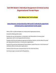 CJA 444 Week 5 Individual Assignment Criminal Justice Organizational