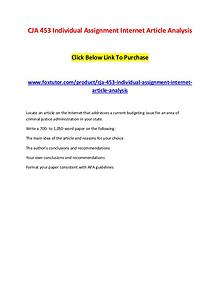 CJA 453 Individual Assignment Internet Article Analysis