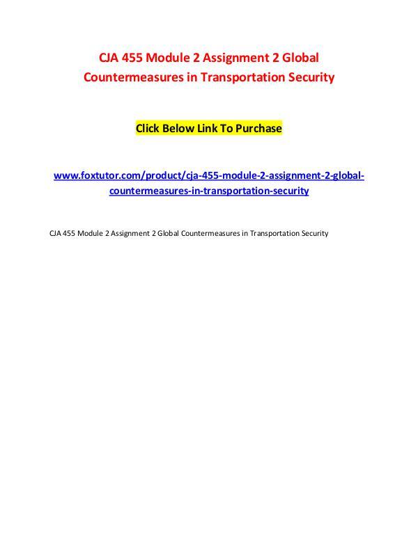 CJA 455 Module 2 Assignment 2 Global Countermeasures in Transportatio CJA 455 Module 2 Assignment 2 Global Countermeasur