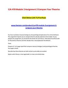 CJA 470 Module 2 Assignment 2 Compare Your Theories