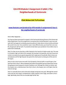 CJA 470 Module 3 Assignment 2 LASA 1 The Neighborhoods of Centervale