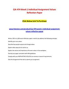 CJA 474 Week 1 Individual Assignment Values Reflection Paper