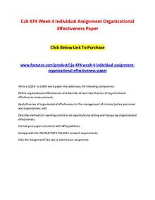 CJA 474 Week 4 Individual Assignment Organizational Effectiveness Pap