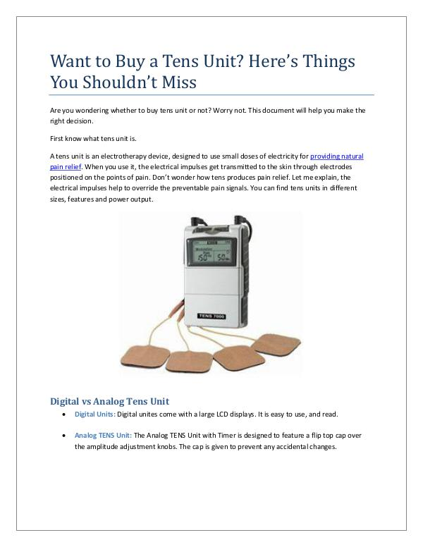 Want to Buy a Tens Unit? Here's Things You Shouldn't Miss Want to Buy a Tens Unit Here's Things You Shouldn'