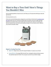 Want to Buy a Tens Unit? Here's Things You Shouldn't Miss