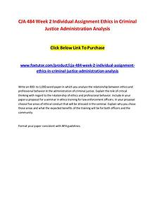 CJA 484 Week 2 Individual Assignment Ethics in Criminal Justice Admin