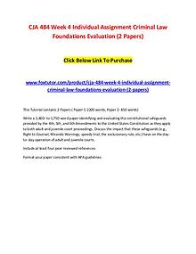 CJA 484 Week 4 Individual Assignment Criminal Law Foundations Evaluat