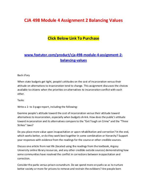 CJA 498 Module 4 Assignment 2 Balancing Values CJA 498 Module 4 Assignment 2 Balancing Values