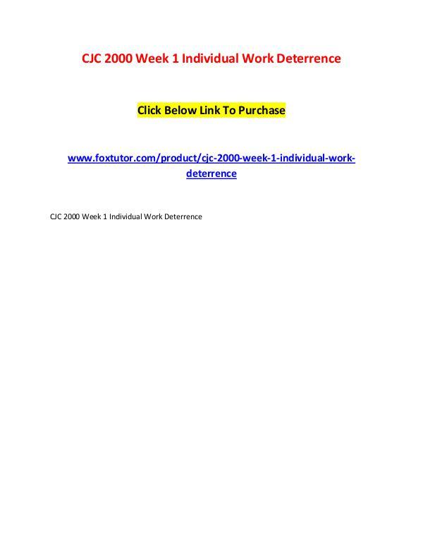 CJC 2000 Week 1 Individual Work Deterrence CJC 2000 Week 1 Individual Work Deterrence