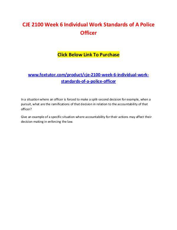 CJE 2100 Week 6 Individual Work Standards of A Police Officer CJE 2100 Week 6 Individual Work Standards of A Pol