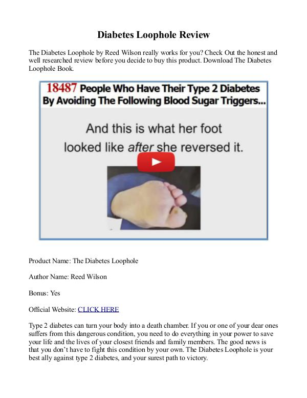 Diabetes Loophole PDF / Program Free Download Reed Wilson's Diabetes Loophole Book Review