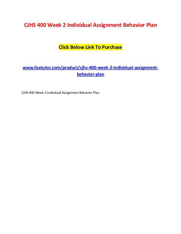 CJHS 400 Week 2 Individual Assignment Behavior Plan CJHS 400 Week 2 Individual Assignment Behavior Pla