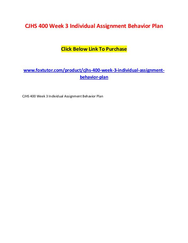 CJHS 400 Week 3 Individual Assignment Behavior Plan CJHS 400 Week 3 Individual Assignment Behavior Pla
