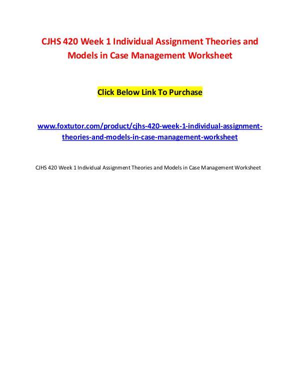 CJHS 420 All Assignments CJHS 420 All Assignments