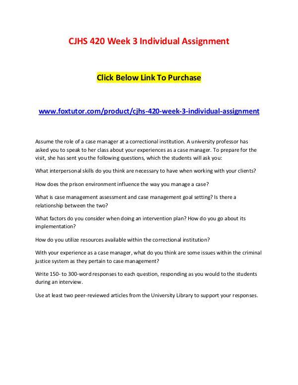 CJHS 420 Week 3 Individual Assignment CJHS 420 Week 3 Individual Assignment