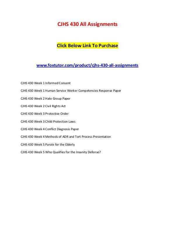 CJHS 430 All Assignments CJHS 430 All Assignments