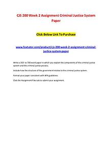 CJS 200 Week 2 Assignment Criminal Justice System Paper