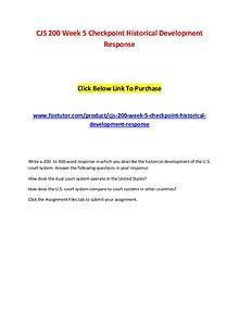 CJS 200 Week 5 Checkpoint Historical Development Response