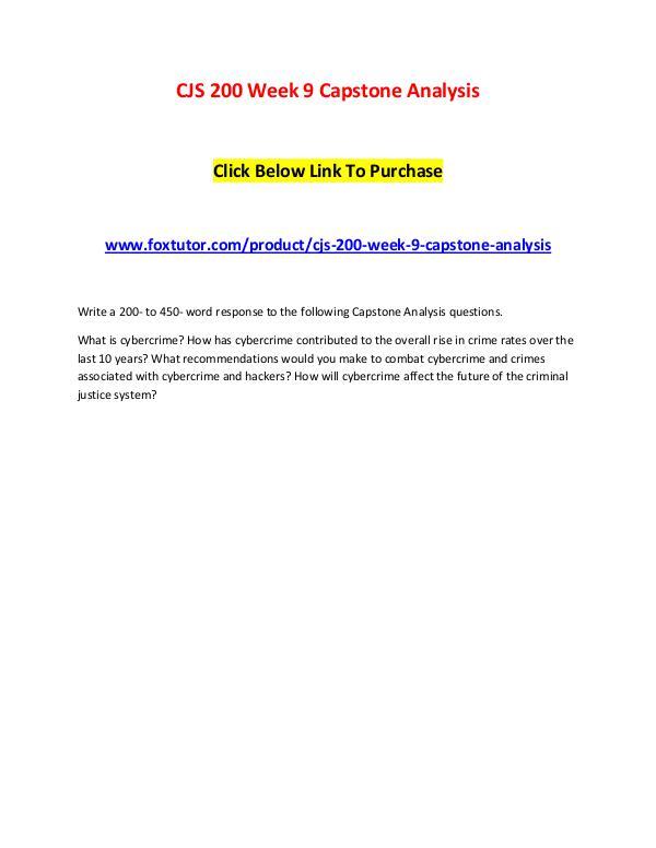 CJS 200 Week 9 Capstone Analysis CJS 200 Week 9 Capstone Analysis
