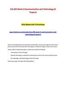 CJS 205 Week 5 Communication and Technology (2 Papers)