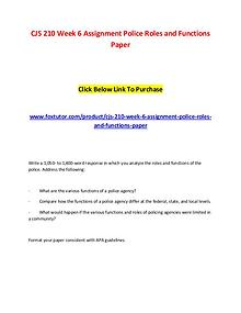 CJS 210 Week 6 Assignment Police Roles and Functions Paper