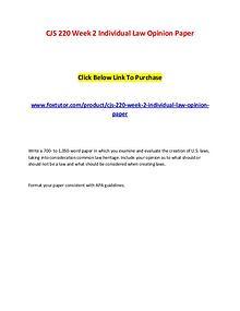 CJS 220 Week 2 Individual Law Opinion Paper