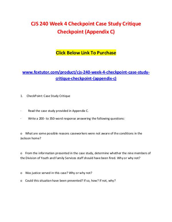 checkpoint case study critique cjs 240