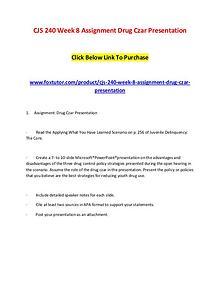CJS 240 Week 8 Assignment Drug Czar Presentation