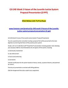 CJS 245 Week 5 Future of the Juvenile Justice System Proposal Present