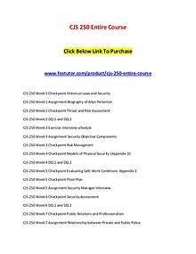CJS 250 Entire Course