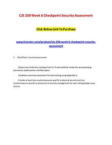 CJS 250 Week 6 Checkpoint Security Assessment