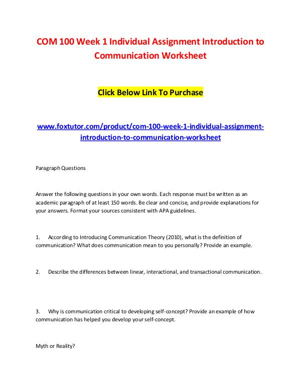 COM 100 Week 1 Individual Assignment Introduction to