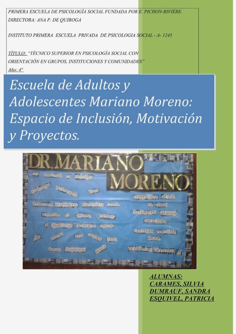 Escuela del Adulto y Adolescente: Inclusión.,Motivación y Proyectos ESCUELA ADULTOS JUEVES 26-1017 FIN (2)