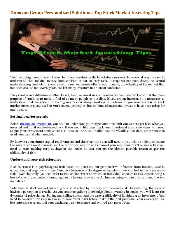Donavan Group Consulting in Singapore and Tokyo, Japan Top Stock Market Investing Tips