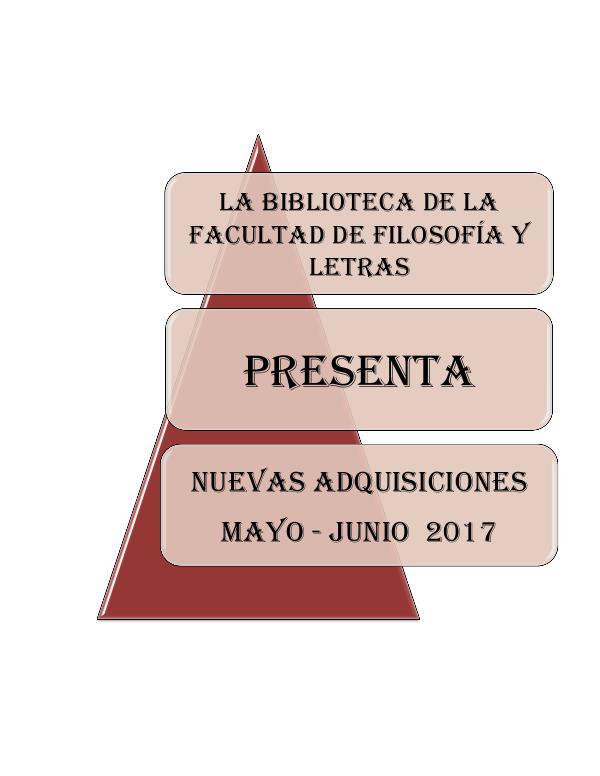Adquisiciones Mayo - Junio 2017 FFL Adquisiones libros y revistas 2017 040817