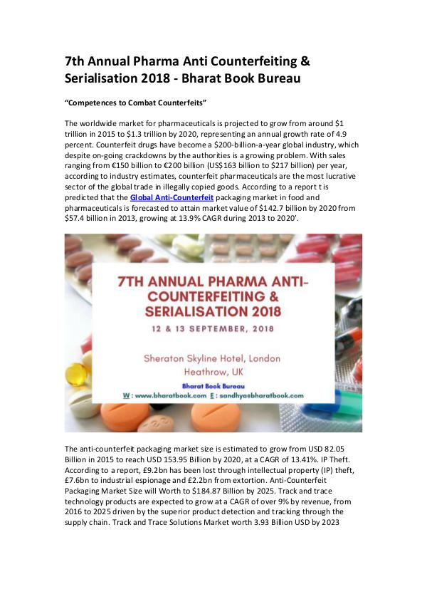 Market Research Reports 7th Annual Pharma Anti Counterfeiting & Serialisat