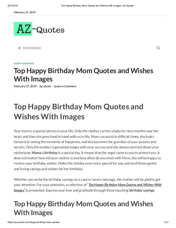 happy birthday mom quotes from daughter | Az-QUotes Top Happy Birthday Mom Quotes and Wishes With Imag