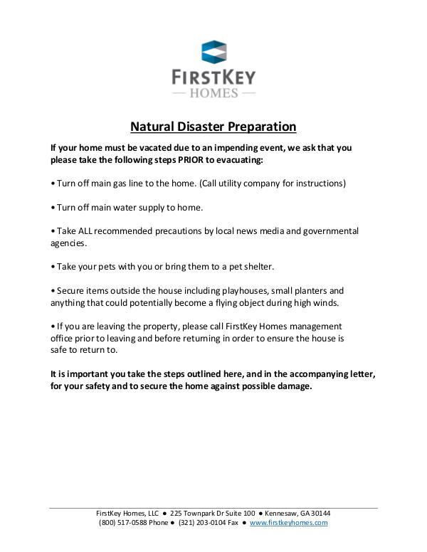 FirstKey Resident Disaster Plan FirstKey Resident Disaster procedures