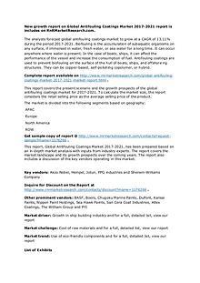 Antifouling Coatings Market Key Vendors Research Report to 2021