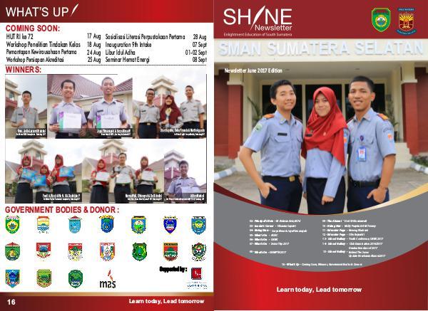 Shine Newsletter SMAN Sumatera Selatan Shine Newsletter - June 2017
