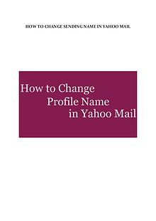 How to change sending name in Yahoo mail