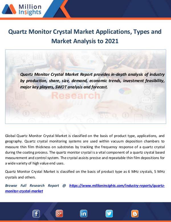 Market News Today Quartz Monitor Crystal Market