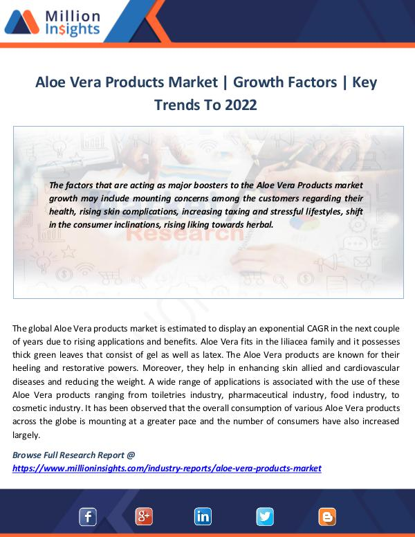 Market News Today Aloe Vera Products Market