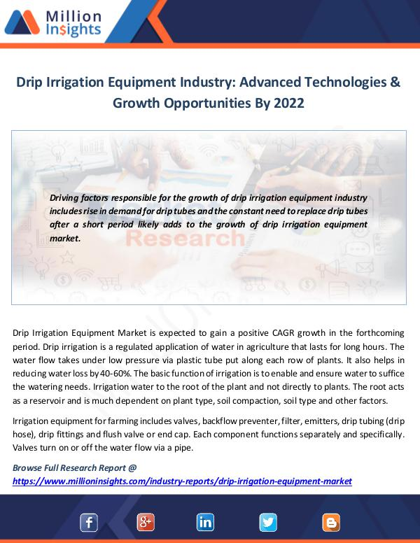 Market News Today Drip Irrigation Equipment Industry