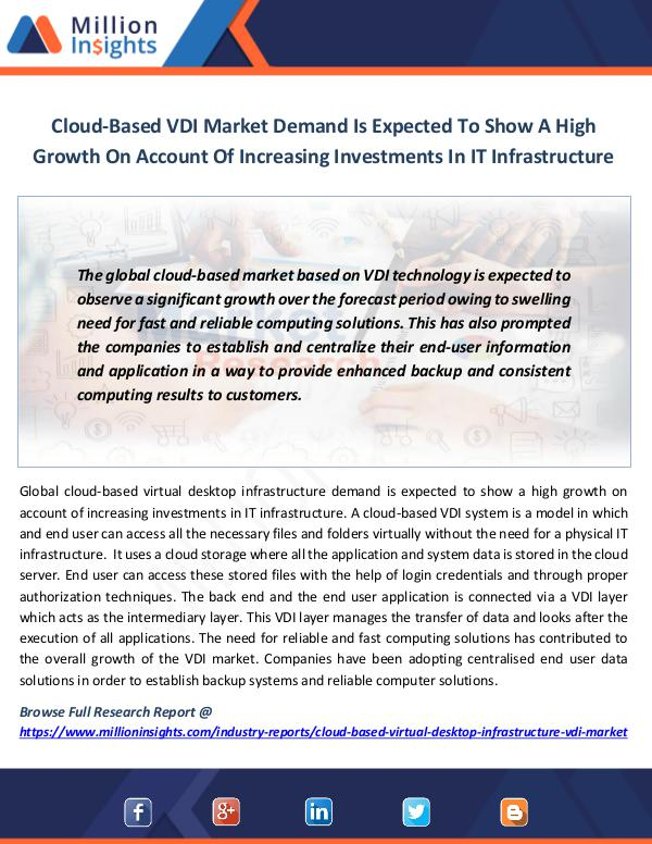 Market News Today Cloud-Based VDI Market