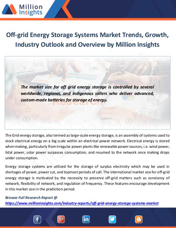 Market News Today Off-grid Energy Storage Systems Market
