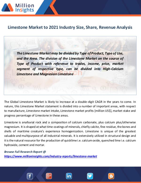 Market News Today Limestone Market to 2022 Industry Size